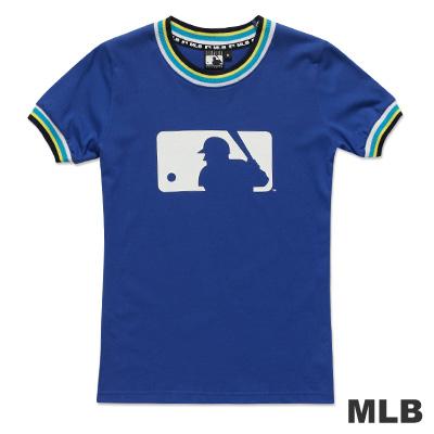 MLB-美國職棒大聯盟LOGO印花撞色造型T恤-藍(女)
