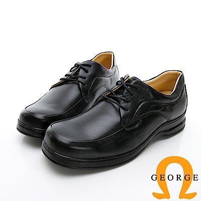 GEORGE 喬治-商務系列 素面綁帶紳士方頭皮鞋-黑