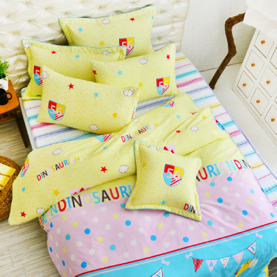 Grace Life 淘氣恐龍 精梳純棉雙人涼被床包四件組