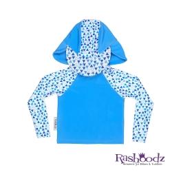 澳洲 RASHOODZ 兒童抗UV防曬半身泳衣附遮陽帽 (水藍三角形)