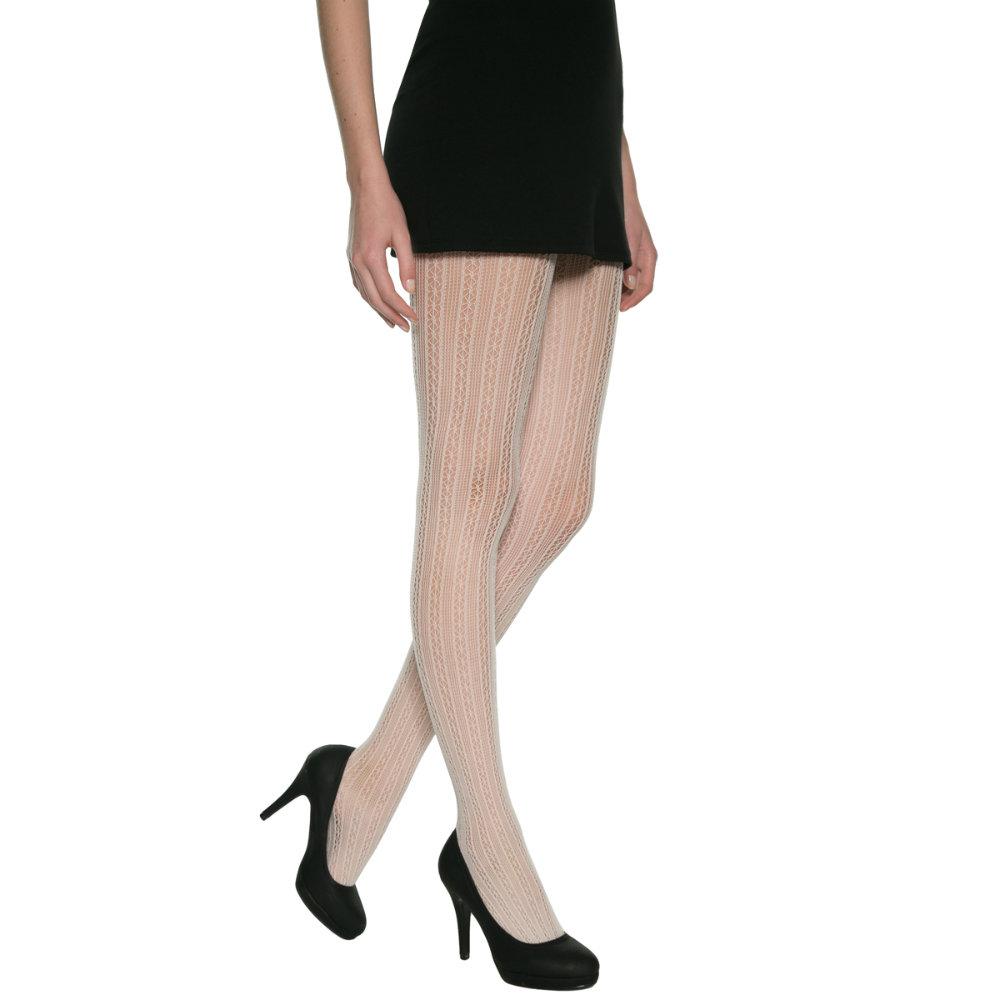 法國DIM-MOD「時尚」系列直條網狀花紋造型褲襪-012M 米白