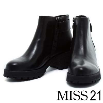 踝靴 MISS 21 經典旅行全真皮模鬼氈粗跟踝靴-經典黑