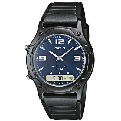 CASIO 超時玩家雙顯指針錶(AW-49HE-2A)-藍底銀字