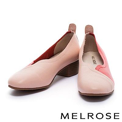 低跟鞋 MELROSE 復古俏麗撞色拼接感牛皮低跟鞋-紅