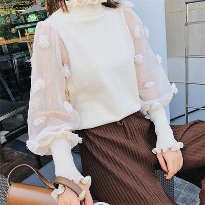 木耳領拼接花朵網紗針織毛衣 (共二色)-Kugi Girl