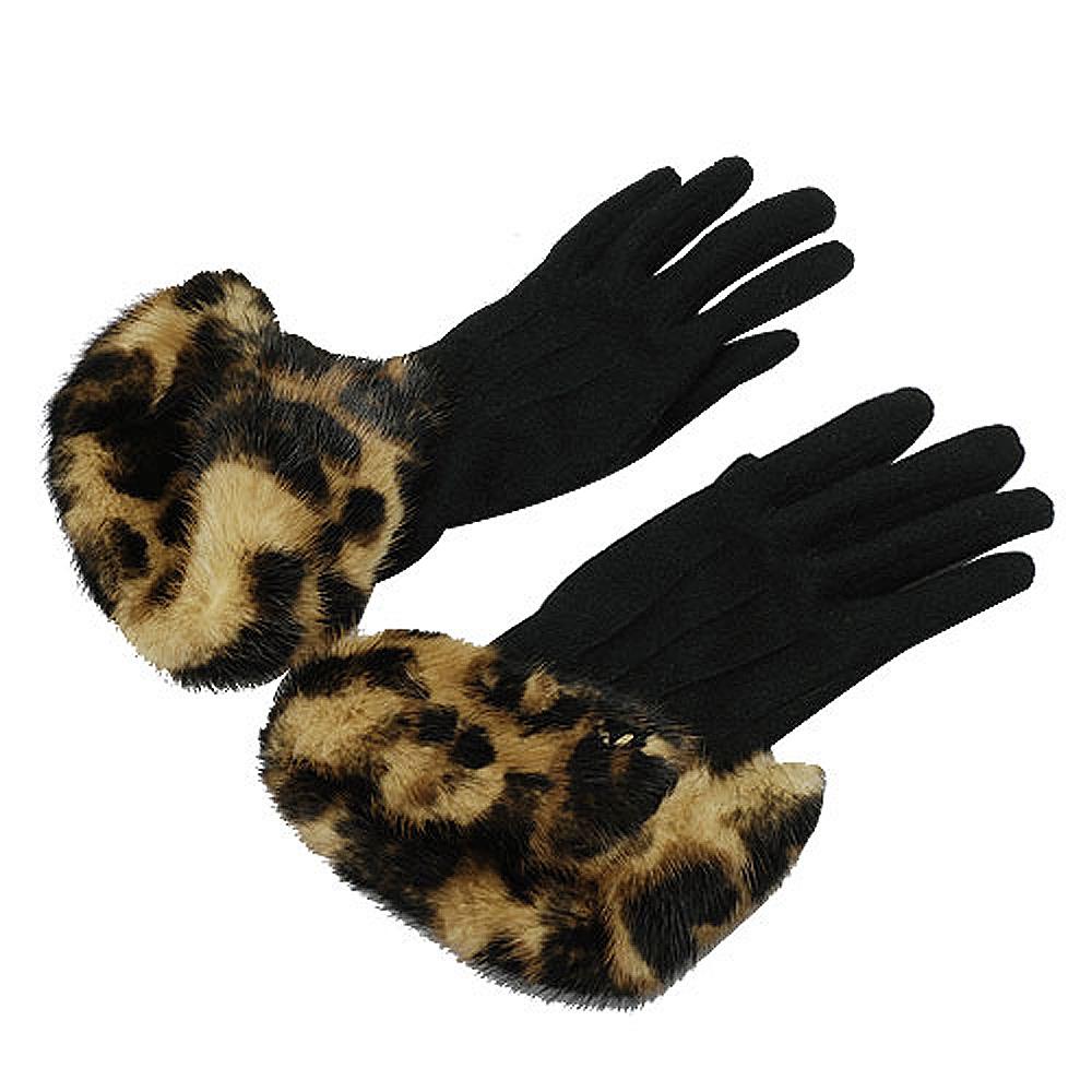 LV M72458  豹紋貂毛皮草飾邊手套