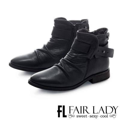 Fair Lady 抓皺感皮革釦帶式平底短靴 黑