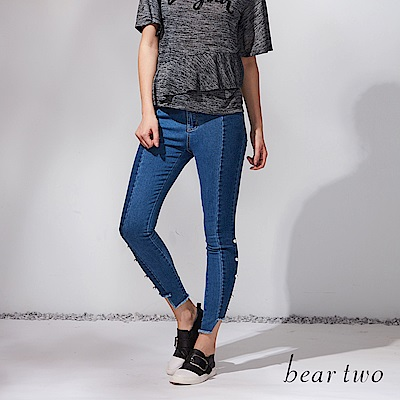 beartwo 珍珠鑲飾不規則褲腳拼接丹寧褲(二色)