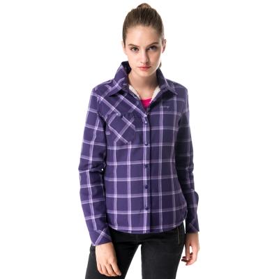 【hilltop山頂鳥】女款長袖格子保暖襯衫C05F14紫