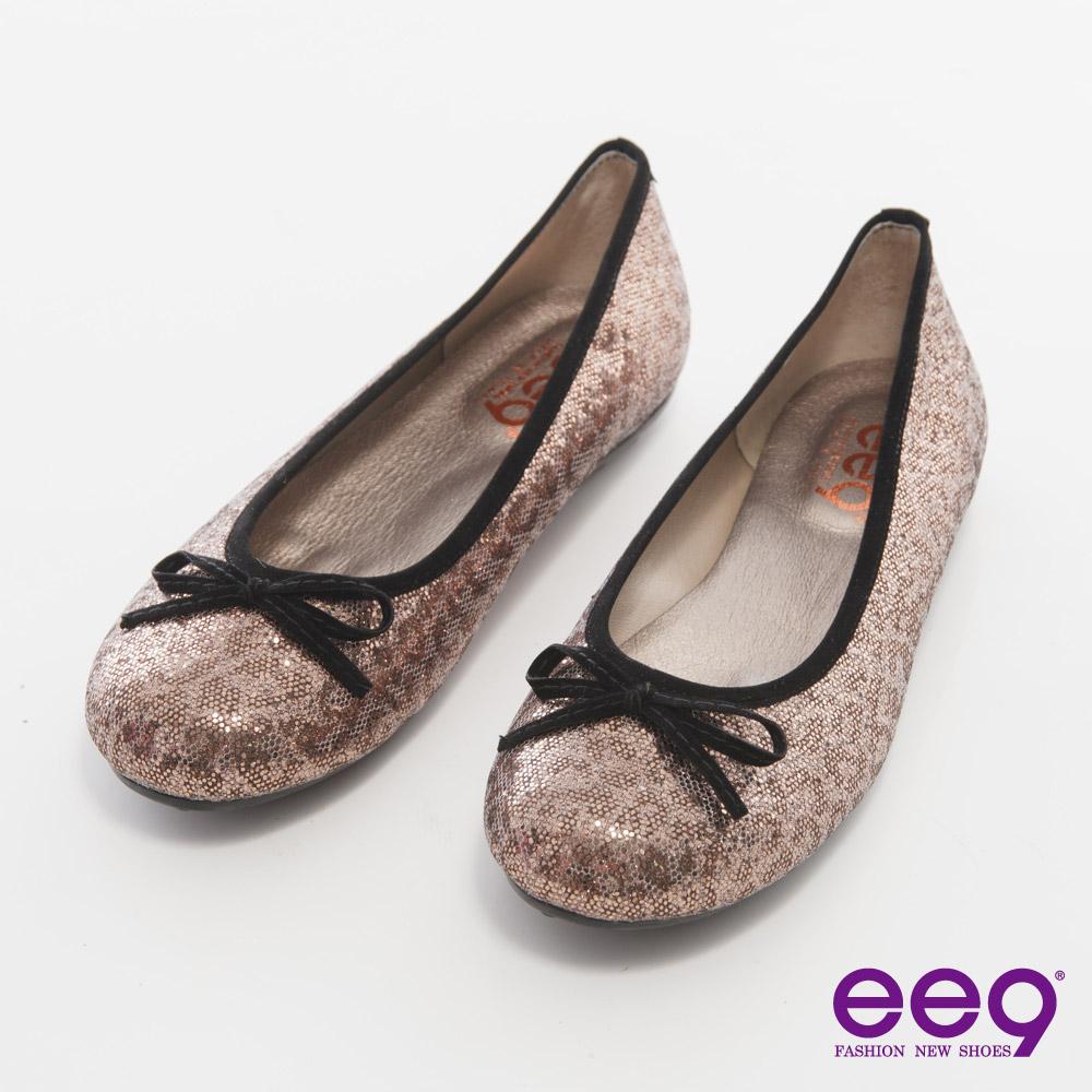 ee9都會優雅~悠閒時光豹紋亮片蝴蝶結豆豆娃娃鞋~古銅