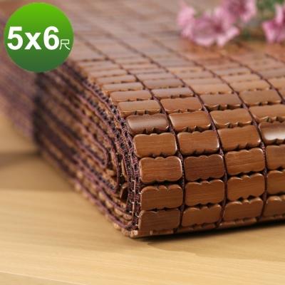 BuyJM 天然炭化雙人5X6.2尺專利棉織麻將涼蓆/附鬆緊帶款