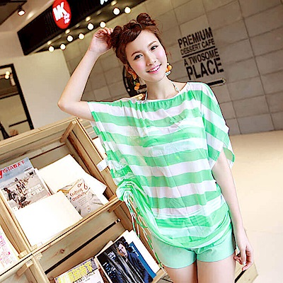 【AngelLuna日本泳裝】簡約條紋四件式比基尼泳衣-一字領綠色