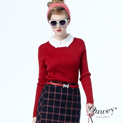 OUWEY歐薇-蕾絲領排針內搭毛衣-共5色