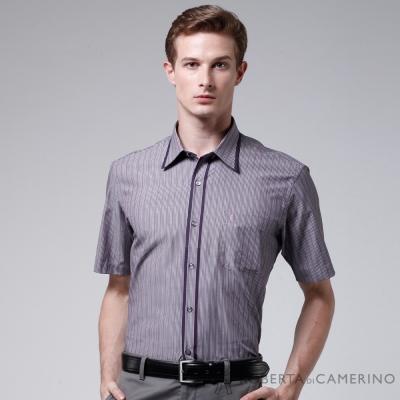 ROBERTA諾貝達 進口素材 防皺易整 變化領口純棉短袖襯衫 紫紅色