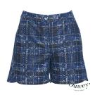 Ouwey歐薇 都會風尚格紋短褲(藍)