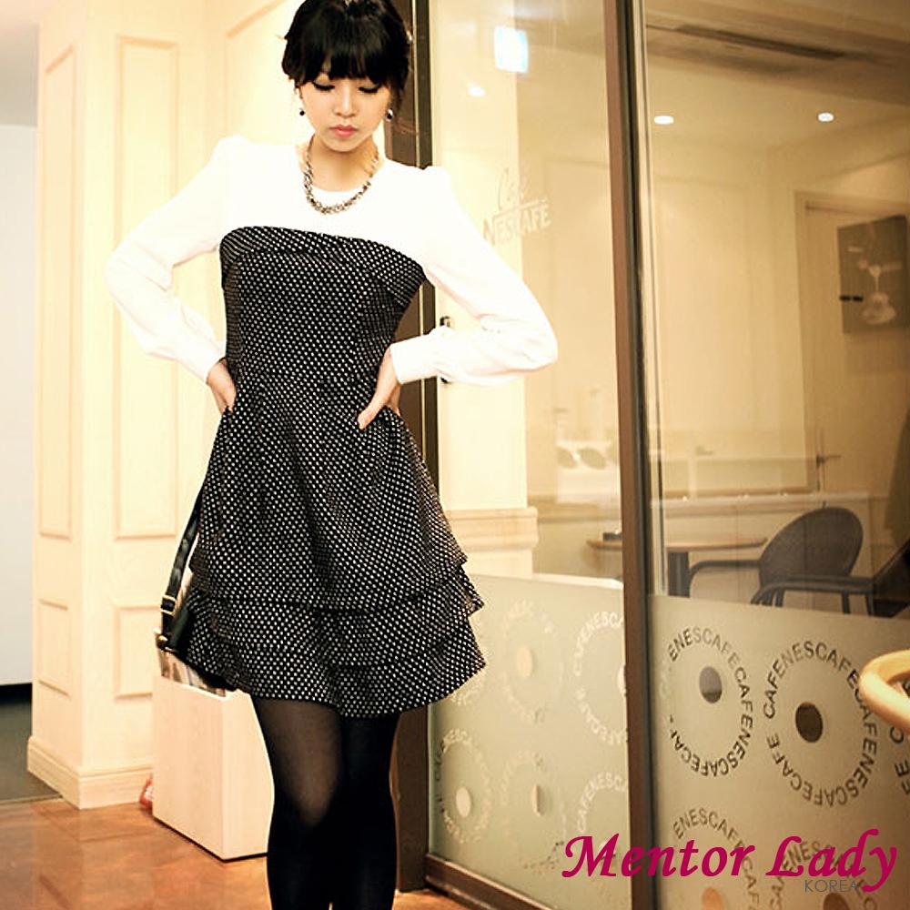 【Mentor Lady】層次蛋糕裙擺點點連身裙 (黑色)