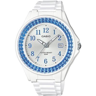 CASIO 閃耀華麗的挑戰時尚腕錶(LX-500H-2B)-白x水藍框/40.6mm