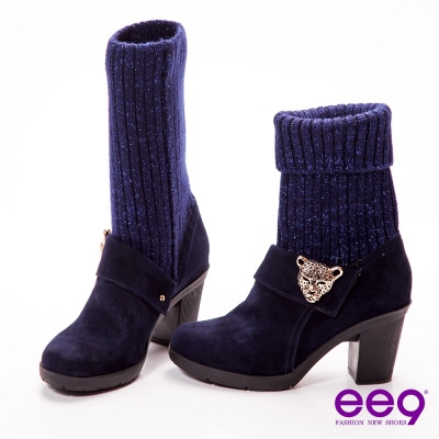 ee9 知性貴族~2way金蔥毛線金屬豹頭飾釦粗跟中筒靴~時尚藍