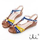 iki2 甜美一夏 復古撞色小坡跟鞋-咖