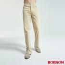 BOBSON 男款伸縮淺卡其直筒褲