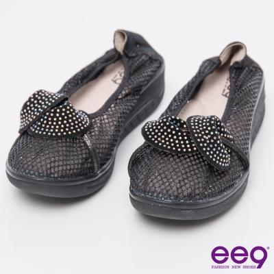 ee9芯滿益足~~酷勁個性異材質交錯併接厚底休閒便鞋~黑色