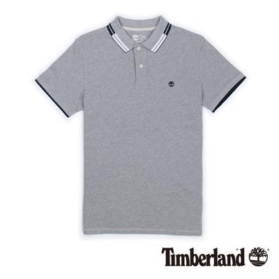 Timberland-男款淺灰色雙色翻領短袖Pol