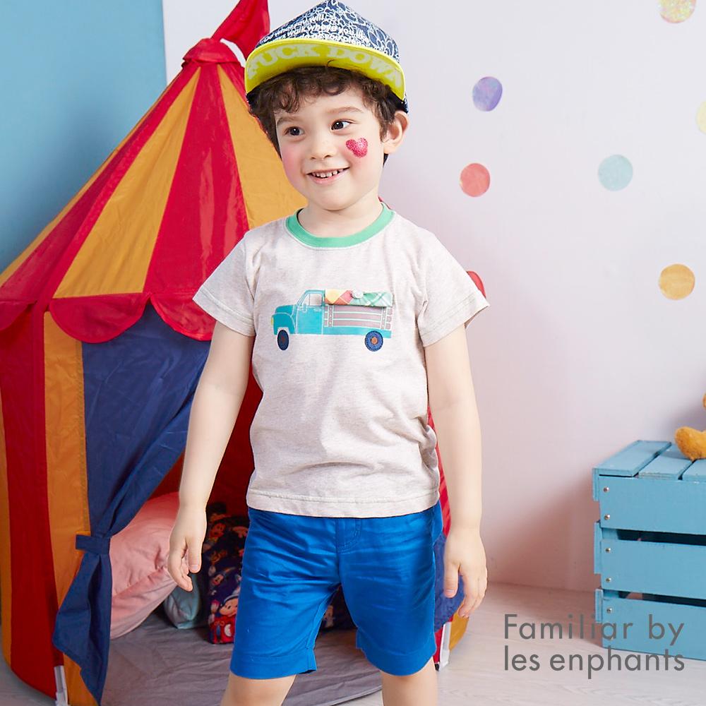 麗嬰房 Familiar 休閒時尚雙口袋工作5分褲 寶藍色