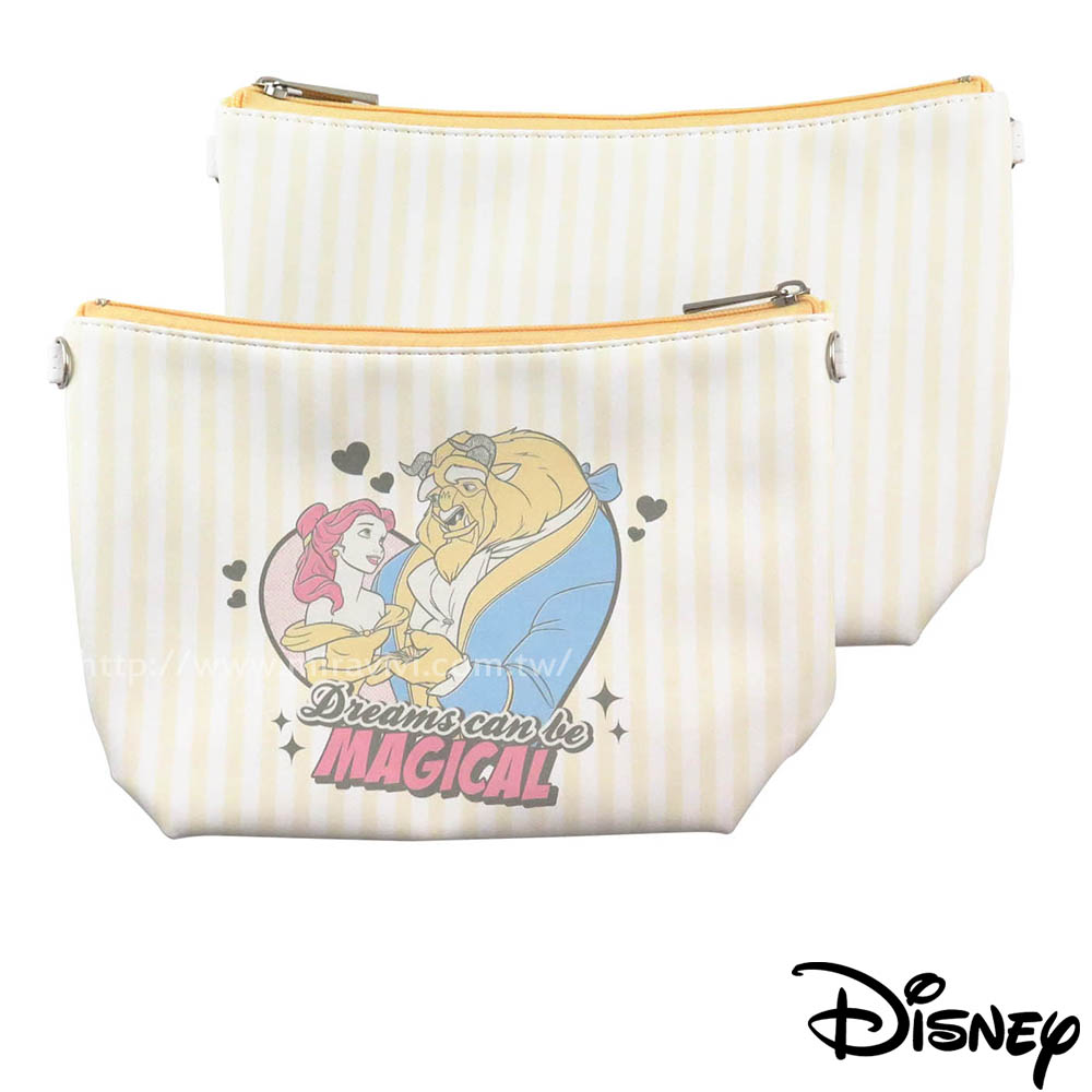 Disney迪士尼漫畫條紋公主系大容量化妝包/萬用包-美女與野獸