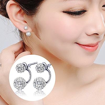 梨花HaNA 韓國925銀水鑽球球上下後掛一款兩戴耳環