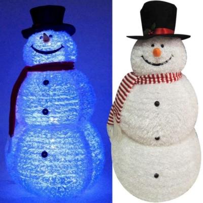 大型(155CM)白色彈簧摺疊雪人玩偶擺飾(100燈LED燈藍白光插電式)