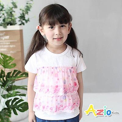 Azio Kids 童裝-上衣 彩色點點線繡網紗短袖T恤(粉)