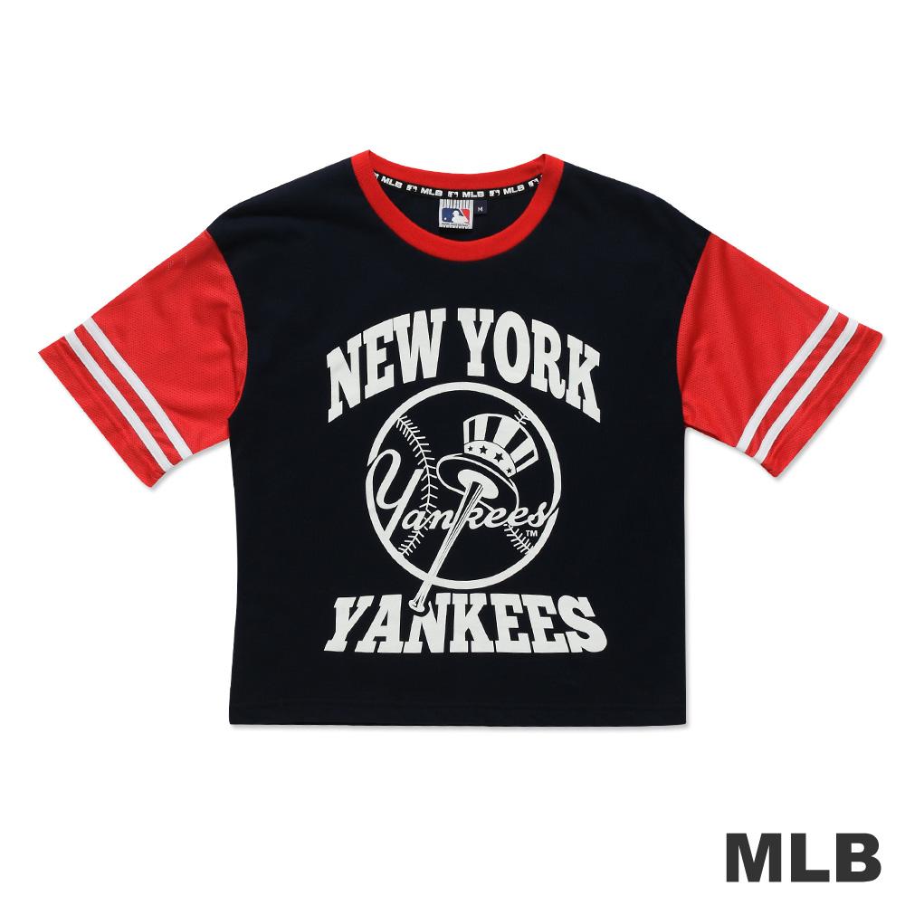 MLB-紐約洋基隊撞色造型短版T恤-深藍(女)