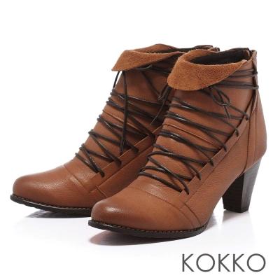 KOKKO-玩酷風潮-仿舊皮革綁帶粗跟踝靴-復古棕