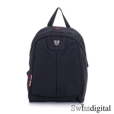 Swissdigital-音樂愛隨身-多功能雙層筆電後背包-我的黑