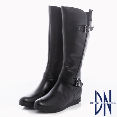 DN 率性時尚 真皮拼接繞帶造型內增高長靴-黑