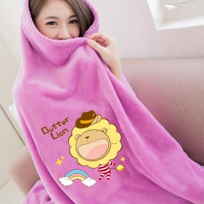 奶油獅-台灣製造-羊羔絨超細纖維雙面隨意保暖毯-彩虹牛仔款-桃紫
