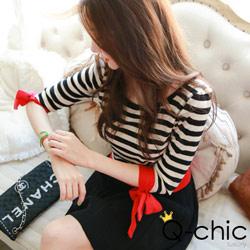 正韓 蝴蝶結袖口黑白條紋針織衫 (黑+白色)-Q-chic