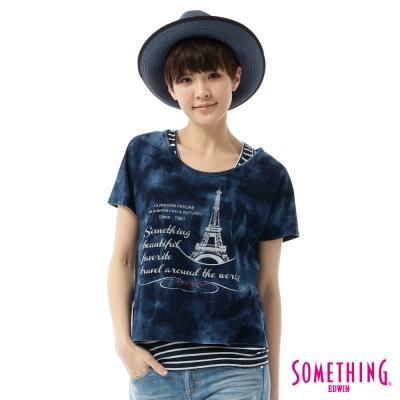 SOMETHING-2件式俏麗T恤-女-石洗藍