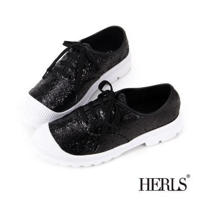 HERLS-街頭亮片造型休閒鞋-黑色