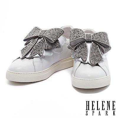 休閒鞋 HELENE SPARK 典雅摩登灰鑽蝴蝶結設計全真皮厚底休閒鞋-銀