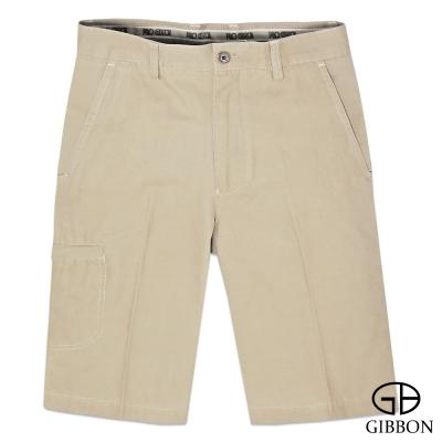 GIBBON 舒適純棉橫紋休閒短褲‧淺褐色30~42