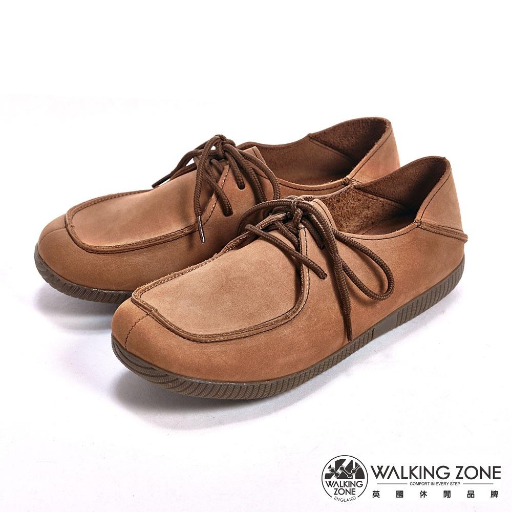 【WALKING ZONE】可踩式雙穿休閒女鞋-棕