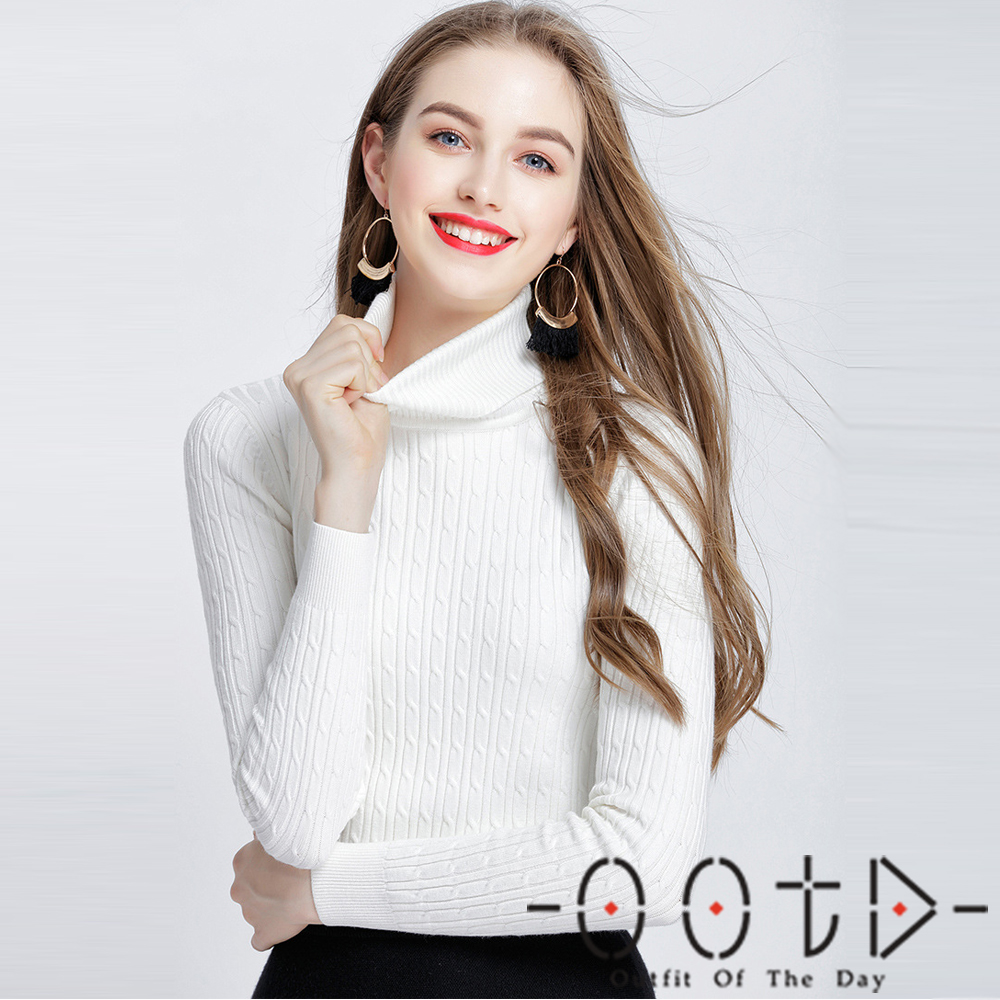 純色高領麻花紋針織上衣 (共二色)-OOTD