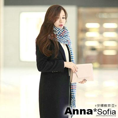 AnnaSofia-千鳥紋線紋-馬海毛圍巾-藍白系