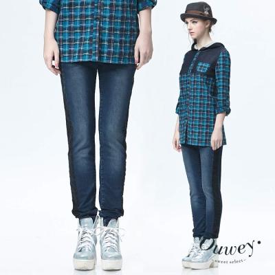 OUWEY歐薇-低腰撞色剪接牛仔褲