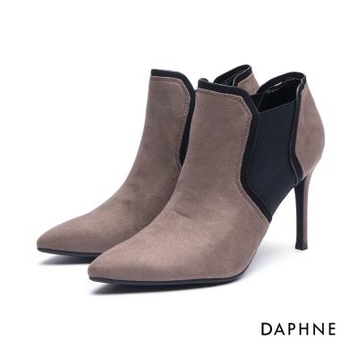 達芙妮DAPHNE 短靴-拼接幾何絨布細高跟踝靴-卡其