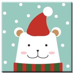 LOVIN 超萌韓版數字油畫 聖誕北極熊 1幅 20x20cm