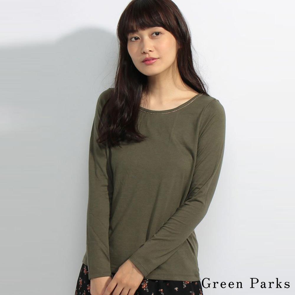 Green Parks 棉質基本款金線圓領設計長袖上衣