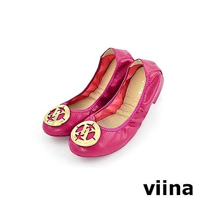 viina 經典款皮紋金扣摺疊鞋MIT-桃紅色