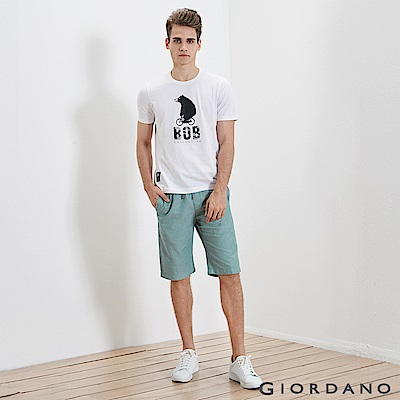 GIORDANO 男裝純棉抽繩鬆緊腰休閒短褲-51 淺綠